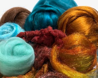 "Teal copper art batt KIT, Spinning KIT, fiber ""Verdigris"" Nuno Needle felting wool, Teal turquoise sienna brown topaz DIY gift, blending kit"