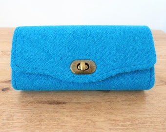 Turquoise Harris Tweed Purse, Harris Tweed Wallet,  Necessary Clutch Wallet, Clutch Bag