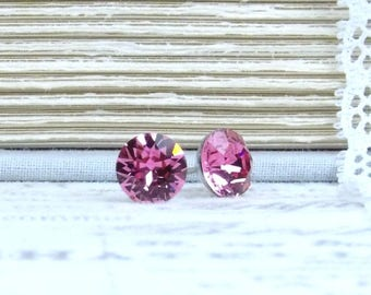 Rose Pink Studs Solitaire Earrings Crystal Studs Pink Stud Earrings Surgical Steel 8mm Studs