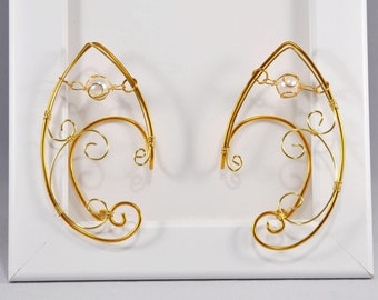 Golden Elf Earcuff with Pearl