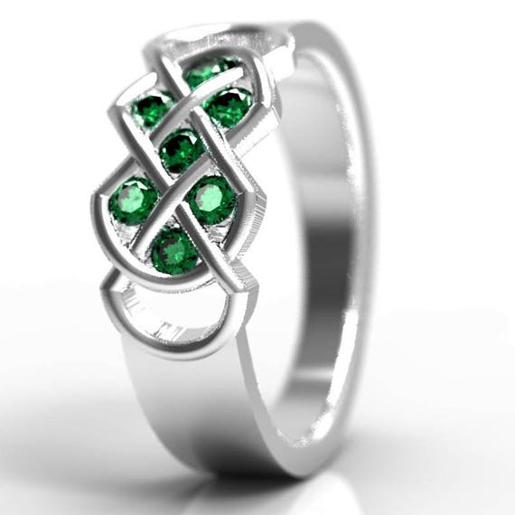 Celtic Emerald Ring With Infinity Knot Design in Sterling Silver, Emerald Green Wedding Ring, Custom Wedding Band, Made in Your Size CR-771