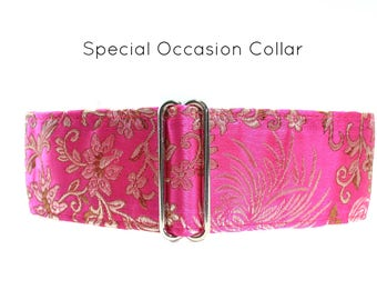 Hot Pink Martingale Collar, Silk Martingale Collar, 2 Inch Martingale Collar, Whippet Collar, Silk Dog Collar Silk Brocade, Fancy Dog Collar