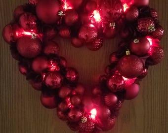 Heart Shaped Ornament Wreath