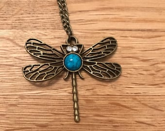 Antique bronze tone dragonfly pendant