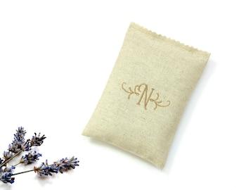 Personalized sachet lavender bag, linen lavender sachet drawer freshener, embroidered monogram letter initial, bridesmaids gifts