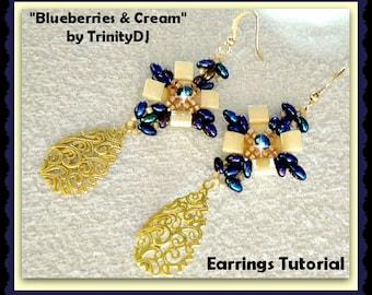 BP-EAR-004-2015-106 - Blueberries & Cream - Earrings - Beadwork PATTERN, beadweaving tutorial, beaded earrings, earring pattern