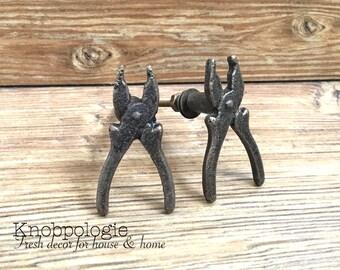 SET Of 2 Wrench Knob - Carpenter Tools Industrial Garage Mechanic Decor Bronze Metal Drawer Pull - Baby Boy Nursery - Man Cave Cabinet Decor