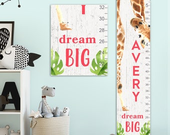 Giraffe Growth Chart - Personalized Canvas Growth Chart, Giraffe, Giraffe Gift, Giraffe Print, Jungle Baby, Animal Prints  - GC4010WW