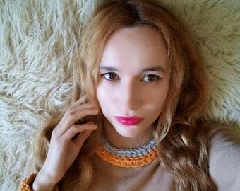 Crochet necklace Crochet bib necklace Womens necklace Crochet jewelry Gift for women Boho necklace Knitted necklace Handmade bib necklace