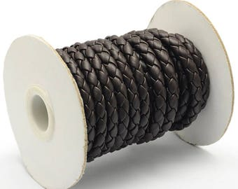 3ft Dark Brown Braided Imitation Leather Cord 6mm