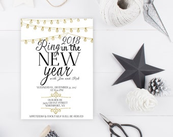 New Years Eve Party Invitation, New Years Invitation, Ring in the New Year, Printable New Years Party Invitation, Happy New Year [115]
