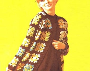 Crochet Pattern Vintage 70s CROCHET SWEATER PATTERN Crochet Granny Square Jacket Pattern Crochet Cardigan Pattern Instant Download