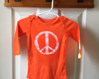 Peace Sign Baby Gift, Orange Peace Sign Baby Bodysuit, Peace Sign Baby Bodysuit, Baby Shower Gift, Gender Neutral Baby Gift (12 months)