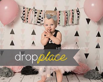 Black & Blush Triangle  Photography backdrop  Background Photo Booth Printed vinyl or Fabric (Multiple Sizes Available)