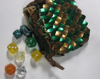 Scale Maille Dice Bag in  Dragonhide knitted armor Bronze Forest