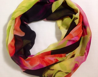 Bold Floral Silky Sheer Infinity Scarf - 15 inches wide