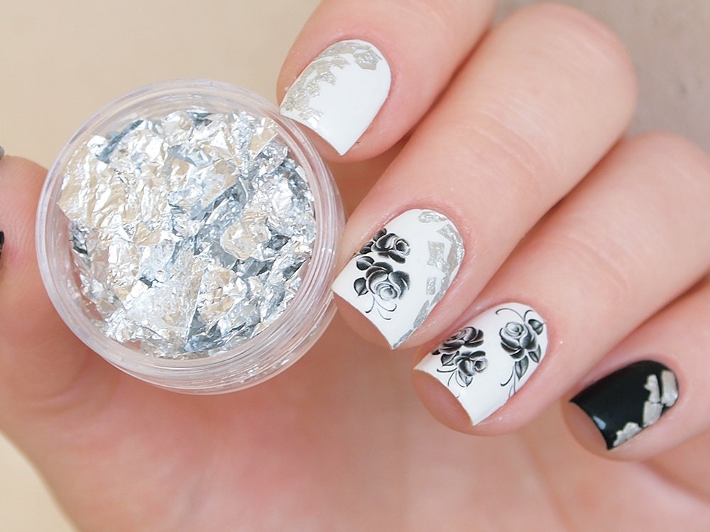 Silver nail art foil/ Silver foil leaf for nails/ Silver nail ...
