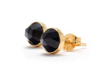 Black Spinel Stud Earrings - 24k Gold Vermeil - 6mm Round - Natural Gemstone Studs