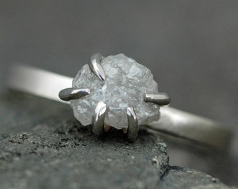 Prong-Set Rough Large Diamond Engagement Ring  in 14k Recycled White or Yellow Gold- Size E Diamonds