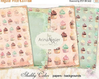 SALE - 40% OFF Shabby Cupcakes Digital Papers - Backgrounds - digital collage sheet - set of 4 - Printable Download
