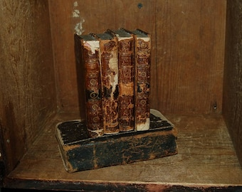 Set of Four Late 18th Century Leather Bound Books - The Works of Jean Racine