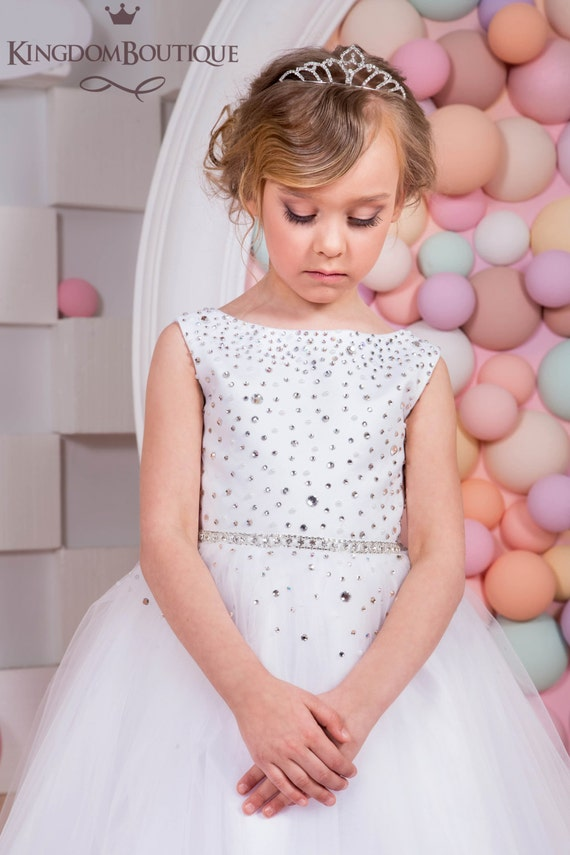 White Flower Girl Dress Holiday Bridesmaid Birthday Wedding
