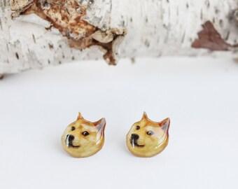 Doge earrings , Meme studs , Dog earrings , Doge studs , Animals studs , Dog lover studs , 9gag earrings , Dog jewelry