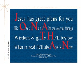Religious Graduation Gift High School College Personalized Name Art Inspirational Graduation Gift Custom Motivational Poem 8x10 Jonathan