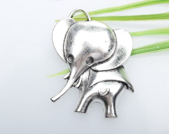Own Charm ,Antique Tibetan silver Elephant Charms pendant 38x29mm