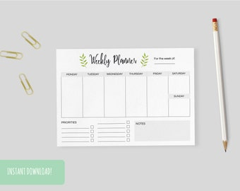 Weekly Planner Herbs   A4 and US letter size PDFs included – INSTANT DOWNLOAD
