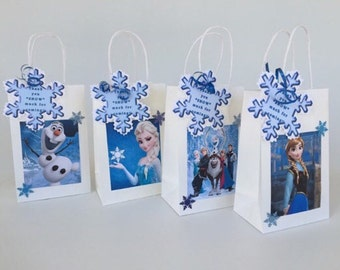 Frozen goody bag, Birthday party bags, party favor, Elsa, Anna, Olaf ..SET OF 8