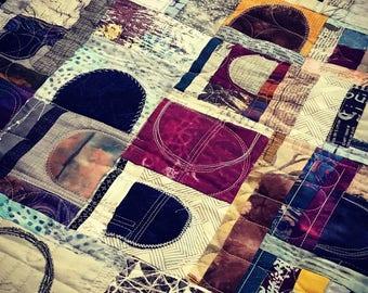 Semicircles or Half-circles?, various blues, golds, and maroon, original digital prints