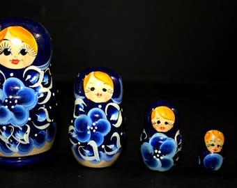 Vintage Five Russian Stacking Nesting Dolls Matryoshka