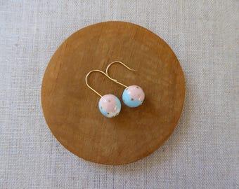 Small Gold Dot Temari Ball Hook Earrings