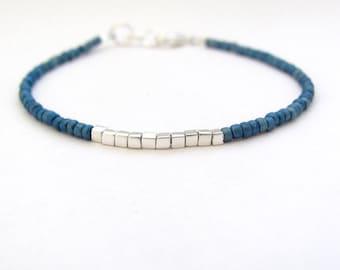 Friendship Bracelet Ocean Blue Silver Plated Cubes, Seed Bead Bracelet, Beaded Bracelet,  Minimal Bracelet Miss Ceces Jewels Hawaii Jewelry