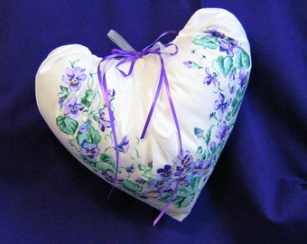 Pillow Cottage Chic Shabby Chic Vintage Fabric Pansies  Heart