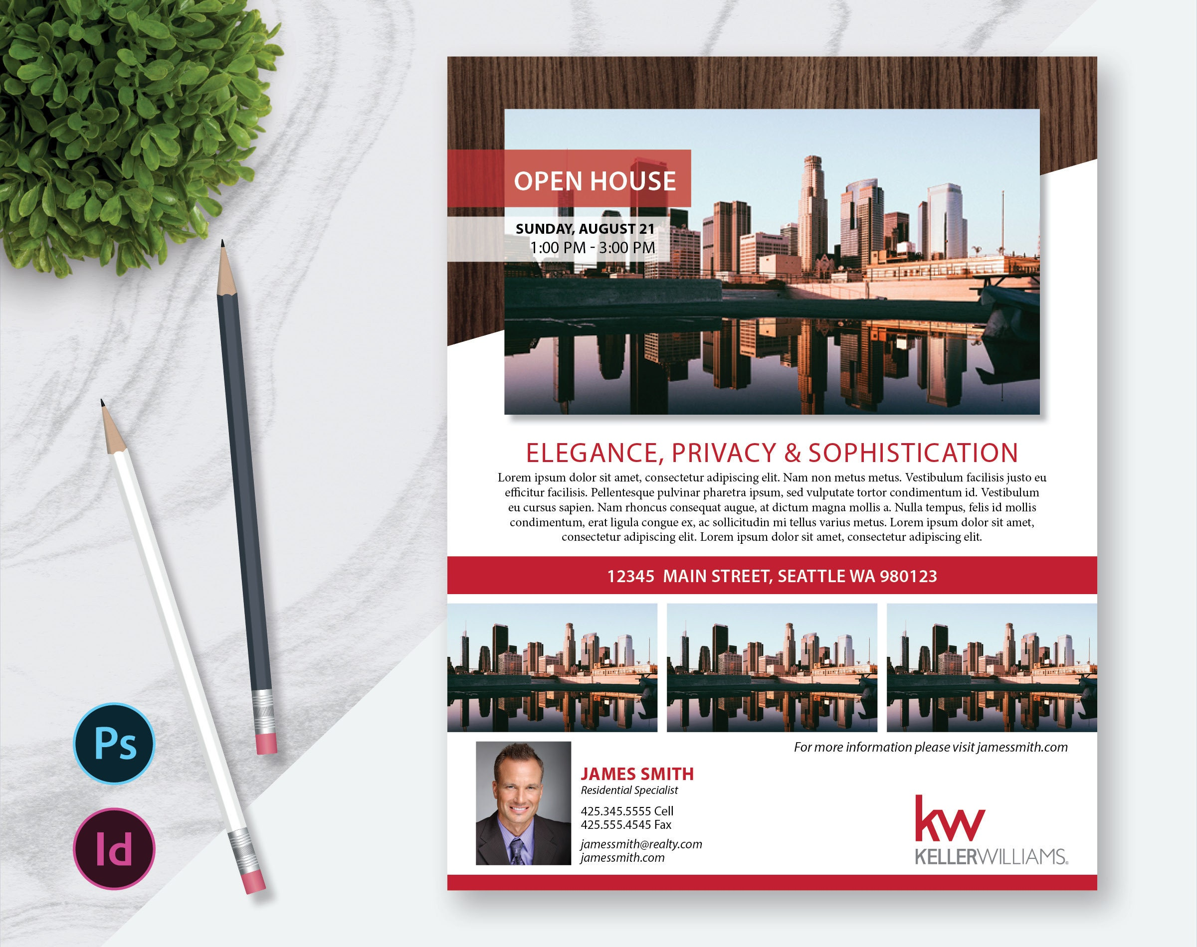 Real Estate Flyer Template Photos Single Sided InDesign - Keller williams open house flyer template