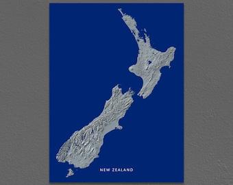New Zealand Map, New Zealand Wall Art Map Poster, Landscape, Navy Blue