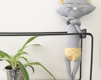 Unique hand painted cat 25cm to help sleep fabrics