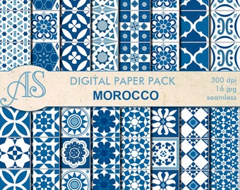 Digital Morocco Ethnic seamless Paper Pack, 16 printable Scrapbooking papers, blue morocco Digital Collage, Instant Download, set 99
