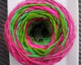 Hand Dyed, Hand Spun,Electric Watermelon Merino, Bamboo, Firestar and Angelina Art Yarn, 117 yards Bulky yarn, Thick and Thin