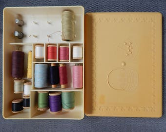 Soviet Vintage Plastic Sewing Box with threads
