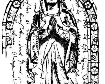 EZ Mounted Rubber Stamp Madonna Icon in Arch of Flower Background Writing Altered Art Craft Scrapbooking Cardmaking Collage Supply.