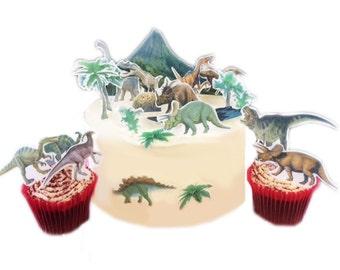 Stand Up Dinosaur Scene Edible Premium Wafer Paper Cake Topper