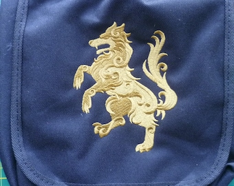 Rampant Wolf Bag, Heraldry Reporter Bag, Heraldic Wolf Bag, Medieval Handbag Coat of Arms shoulder Bag Vape Bag Medical kit bag
