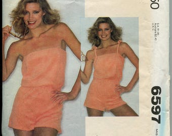 1970s Jumpsuit Pattern Vintage Playsuit McCalls Pattern 6597 Short Jumpsuit Womens Shorts Size 10-12 uncut