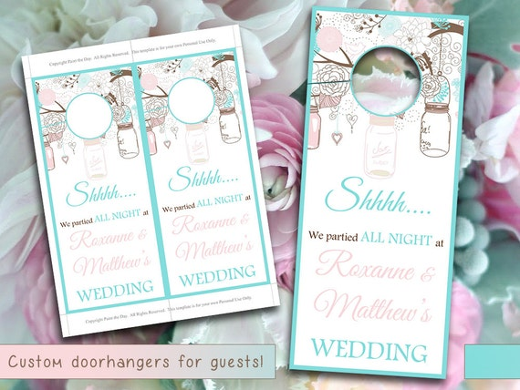 Rustic Wedding Door Hanger Template Mason Jar Blue Pale Pink