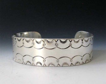 Southwestern Stamped Cuff Bracelet in Sterling Silver-Native American Style Stamped Bracelet - Made in the USA by Me - FREE Shipping
