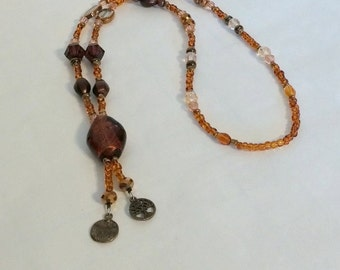 Necklace Amber-Colored Beads