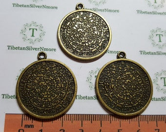 4 pcs per pack 31mm Round reversible textured coin Antique Bronze Finish Lead Free Pewter